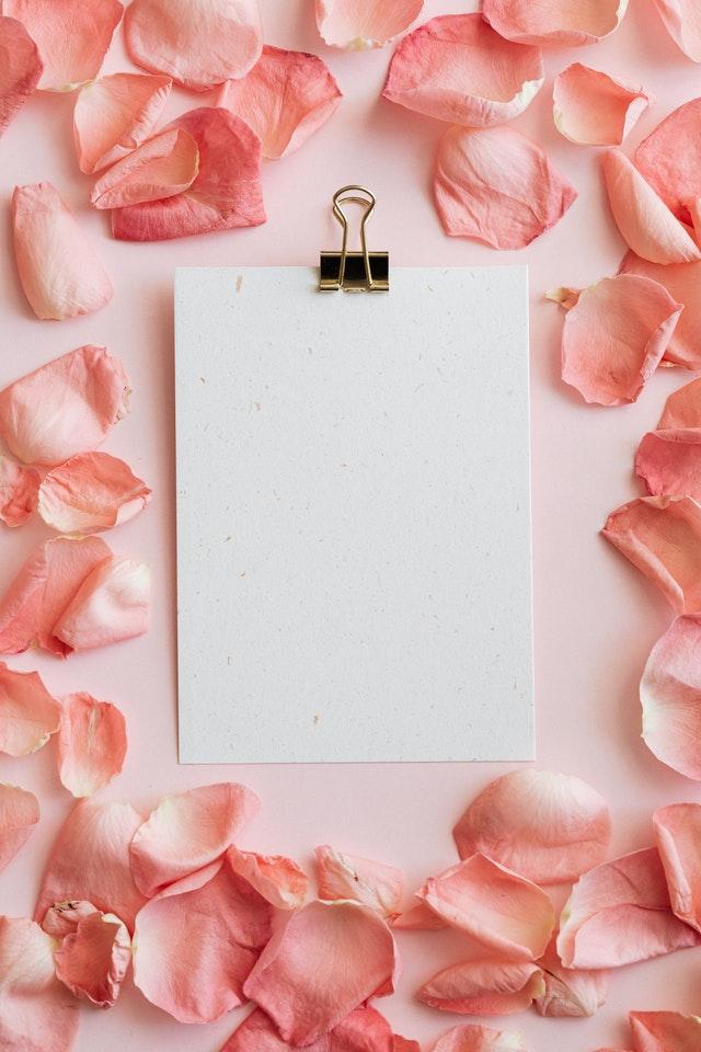 Paper and rose petals